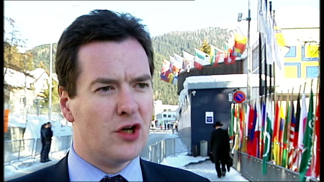 George Osborne interview at World Economic Forum / luxury jewellery shop George Osborne MP interview continues SOT On Gordon Brown denying...