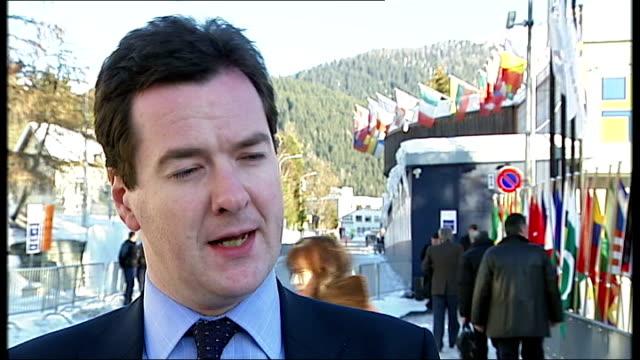 George Osborne interview at World Economic Forum / luxury jewellery shop George Osborne MP interview SOT Global economic turbulance / on whether...