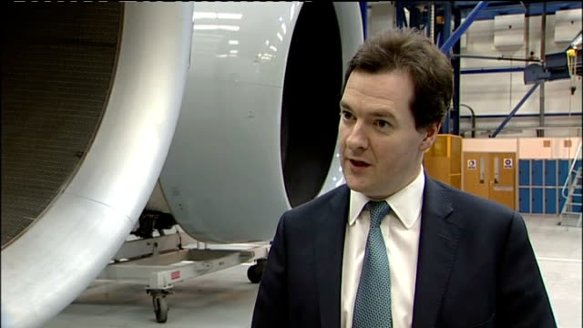 derbyshire derby int george osborne mp interview sot we've got a budget in a couple of weeks time / i'm aware the rising cost of oil rising cost of... - stabilisers stock videos & royalty-free footage