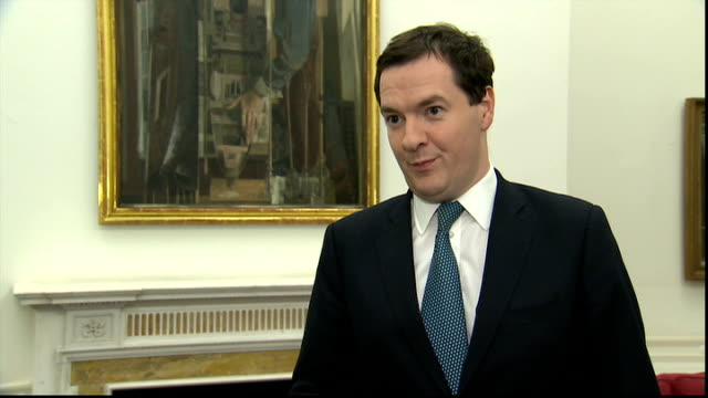 london treasury int george osborne mp interview sot falling unemployment low inflation and economy is growing shows our policies are working/... - low unemployment stock videos & royalty-free footage