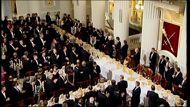 george osborne mansion house speech 2011 england london mansion house photography*** procession through salon into dinner top shot delegates clapping... - lord mayor of london city of london stock videos & royalty-free footage