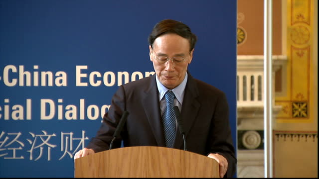 George Osborne meets Chinese Vice Premier document signing / press conference Wang Qishan press conference SOT On the outcomes of the UKChina talks /...