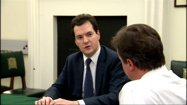 george osborne mp speaking to david cameron mp at table cameron gesturing and speaking - george osborne stock videos & royalty-free footage