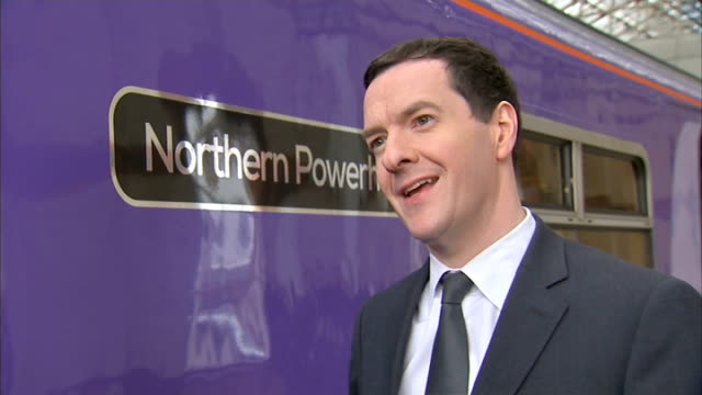 George Osborne 'Northern Powerhouse' train George Osborne MP interview SOT publishing comprehensive transport study / ideas behind Northern...