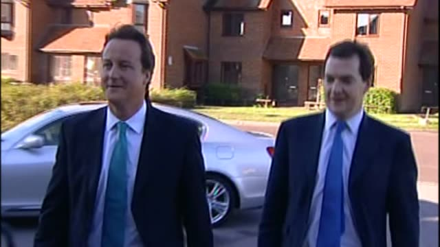 george osborne resigns from government; date unknown england: ext george osborne mp arriving with then leader of opposition david cameron - george osborne stock videos & royalty-free footage