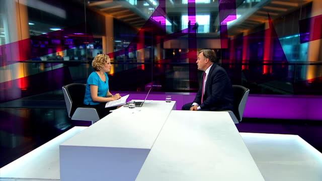 george osborne says uk economy is 'turning a corner' england london gir int ed balls mp live studio interview sot - キャシー・ニューマン点の映像素材/bロール
