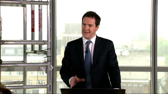 george osborne says uk economy is 'turning a corner'; england: london: int george osborne mp applauded as to podium to deliver speech george osborne... - notfallplan konzepte stock-videos und b-roll-filmmaterial