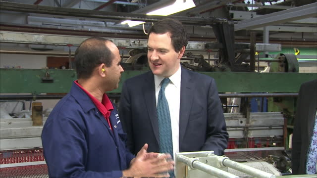 george osborne speaking to employees and taking a tour of a textiles factory - chancellor stock videos & royalty-free footage