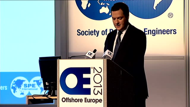 george osborne speech at offshore europe; george osborne along to podium george osborne mp speech sot **check against delivery** - good morning.... - politics and government stock videos & royalty-free footage