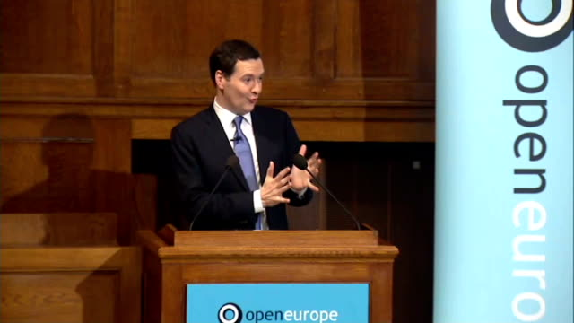 vídeos de stock, filmes e b-roll de george osborne speech on european union osborne question and answer session sot on job creation and business on civil war over eu within conservative... - bônus