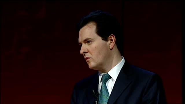 george osborne speech outlining eight benchmarks for economic growth; george osborne answering questions sot - more on cutting the budget deficit /... - co ordination stock videos & royalty-free footage