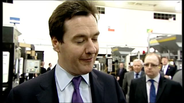 george osborne talks of cancelling fuel duty increase wales llantrisant royal mint int george osborne mp interview sot we're changing the way that... - royal mint stock videos & royalty-free footage