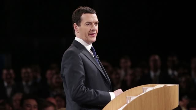 george osborne, u.k. chancellor of the exchequer, speaks during the conservative party spring forum, in manchester, u.k., on saturday, march 28 grant... - george osborne stock videos & royalty-free footage