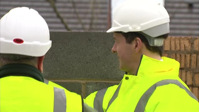 george osborne visits housing construction site in cheshire england cheshire sandbach ext george osborne mp visiting construction site at housing... - sandbach -antoinette stock videos & royalty-free footage