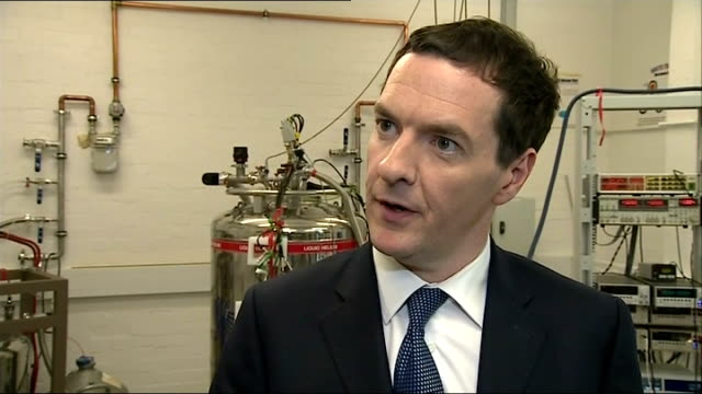 George Osborne visits lab and interview Osborne interview SOT On importance of Lord Hill's appointment to be Financial Services Commissioner /...