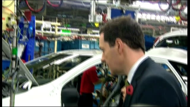 george osborne visits nursery and toyota factory in derby; toyota car plant: int toyota cars along on production line / staff at work on cars /... - alternative fuel vehicle stock videos & royalty-free footage