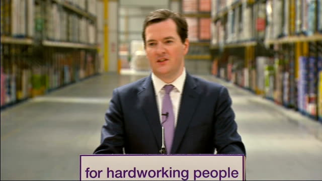george osborne visits supermarket distribution centre to defend benefit changes int osborne speech sot in recent days we've heard of a lot of frankly... - george osborne stock videos and b-roll footage