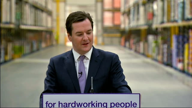 george osborne visits supermarket distribution centre to defend benefit changes george osborne mp speech sot no family that's out of work should... - george osborne stock videos & royalty-free footage