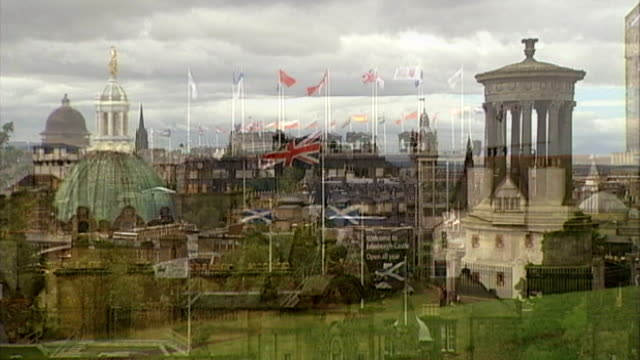 george osborne warns scottish voters they risk losing the pound if they choose independence t11081141 / tx edinburgh cityscape with dugald stewart... - calton hill national monument stock videos and b-roll footage