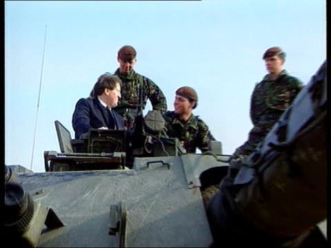 george roberston elevated to peerage lib petrovic george robertson mp sitting in tank speaking to british troops lib england london side ms pm tony... - john prescott politiker stock-videos und b-roll-filmmaterial