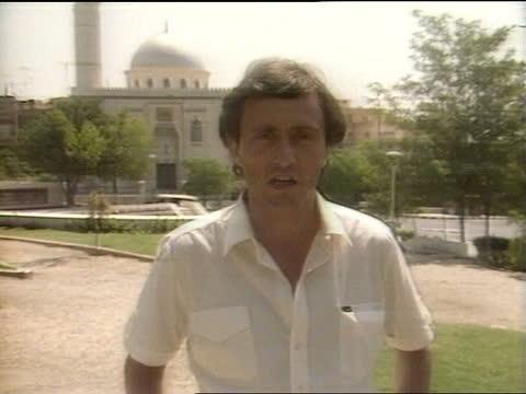 george shultz meets hafez al-assad:; syria: damascus: int zoom george shultz, us defence secretary, as he converses with lt-gen. hafiz al-assad... - middle east stock videos & royalty-free footage