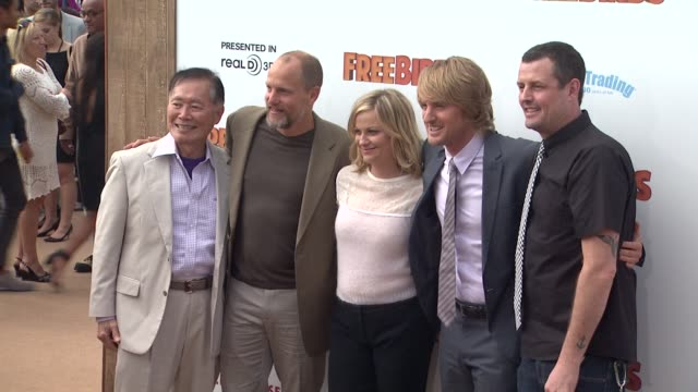 george takei woody harrelson amy poehler owen wilson and director jimmy hayward at free birds los angeles premiere on in westwood ca - woody harrelson stock videos and b-roll footage
