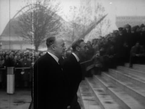 george vi and queen elizabeth arrive at the festival of britain site on the south bank and are greeted by clement attlee and winston churchill - festival of britain stock videos & royalty-free footage