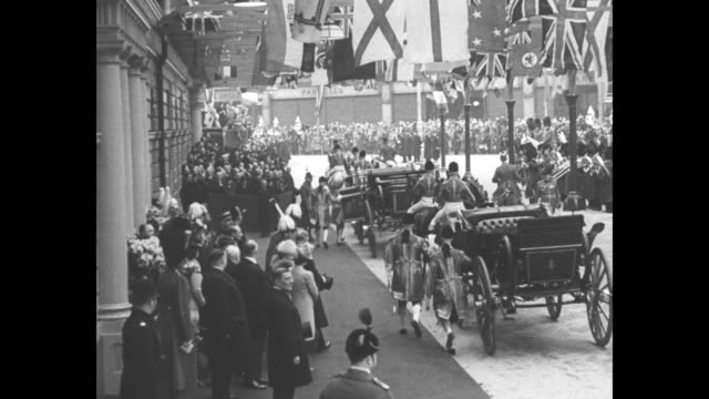 george vi and queen elizabeth greet french president albert lebrun and wife marguerite at victoria station foreign minister georges bonnet gets off... - theatre royal stock videos and b-roll footage