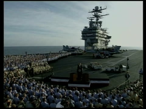 victims lib george w bush addressing troops on aircraft carrier sot we've removed an ally of alqaeda we've begun search for hidden chemical and... - al qaida stock videos & royalty-free footage