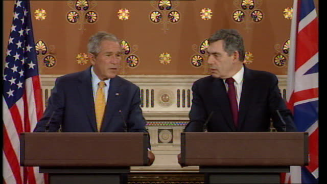 george w bush and gordon brown comment on troop numbers in iraq and afghanistan press conference thank you for your strong words on zimbabwe you are... - hiv aids conference stock videos & royalty-free footage