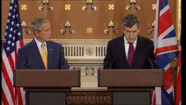 George W Bush and Gordon Brown comment on troop numbers in Iraq and Afghanistan Press conference We discussed the deteriorating situation in Zimbabwe...