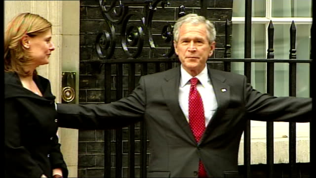 george w bush and gordon brown meet at 10 downing street; prime minister gordon brown mp and wife sarah greeting us president george w bush and his... - mp stock-videos und b-roll-filmmaterial
