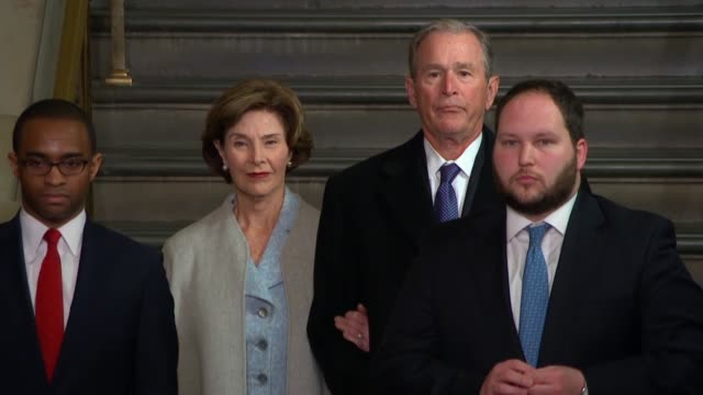 george w. bush and laura bush arrive at the capitol for donald trump's inauguration. - laura bush stock videos & royalty-free footage