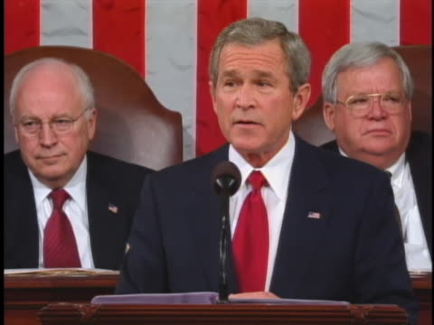 george w. bush discusses changes to social security in his 2005 state of the union address. - cabinet member stock videos & royalty-free footage