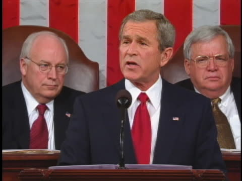 george w. bush discusses countering the plight of urban youth in his 2005 state of the union address. - masculinity stock videos & royalty-free footage