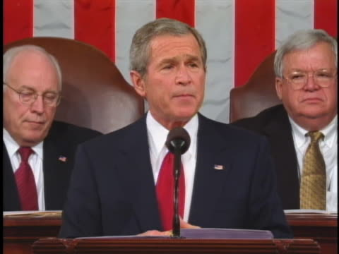 george w. bush discusses iraqis' desires for freedom in his 2005 state of the union address. - 2005 stock videos & royalty-free footage
