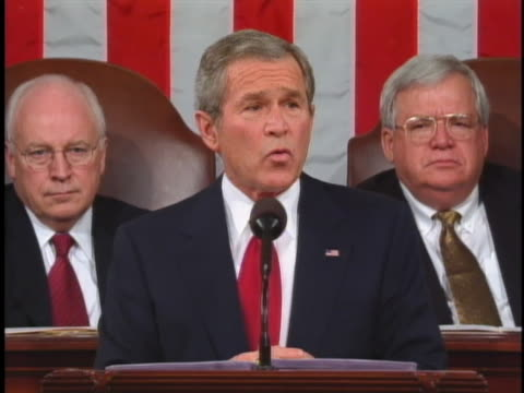 george w. bush discusses the use of dna evidence to counter racism and promote fairness in the justice system in his 2005 state of the union address. - united states and (politics or government) stock videos & royalty-free footage