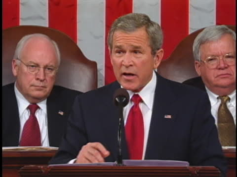 george w. bush dismisses charges of american neo-colonialism in his 2005 state of the union address - freedom stock videos & royalty-free footage