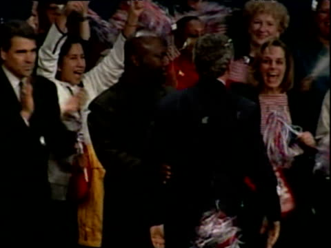 George W Bush is applauded by crowd at Republican rally on election day Texas Nov 00