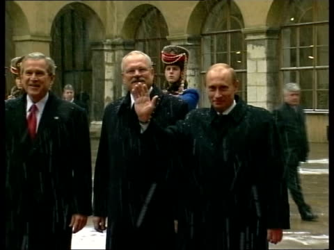 george w bush meets vladimir putin amid diplomatic tensions slovakia bratislava george w bush vladimir putin and ivan gasparovic walking towards... - georgia us state stock videos and b-roll footage