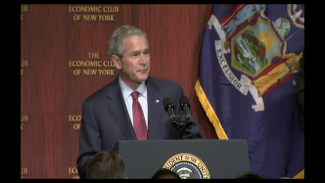 stockvideo's en b-roll-footage met george w bush reacting to applause at the economic club of new york - george w. bush