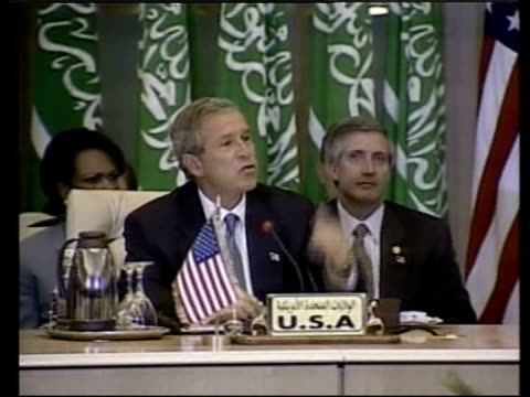 george w bush summit; pool egypt: sharm el-sheikh: ext us president george w bush speech sot - israel's got responsibilities, israel must deal with... - infinity pool stock videos & royalty-free footage