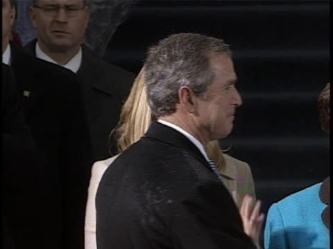 george w. bush takes the oath of office, as administered by chief justice william h. rehnquist, at his first presidential inauguration. - bush stock videos & royalty-free footage