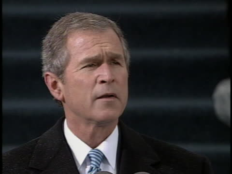 george w. bush talks about american ideals during the address at his first inauguration in 2001. - bush stock videos & royalty-free footage