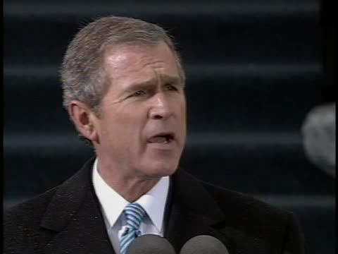 george w. bush talks about the traditional american code of conduct during the address at his first presidential inauguration. - bush stock videos & royalty-free footage