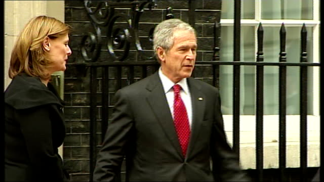 george w bush uk visit: day 1; england: london: downing street: ext george w bush and wife, laura bush along and greet gordon brown mp and wife,... - laura bush stock videos & royalty-free footage