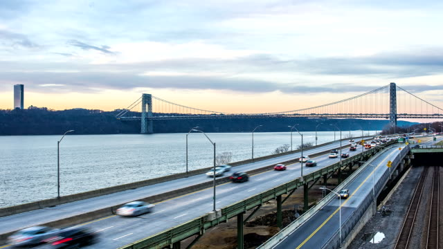 george washington bridge day to night time-lapse - hudson valley stock videos and b-roll footage