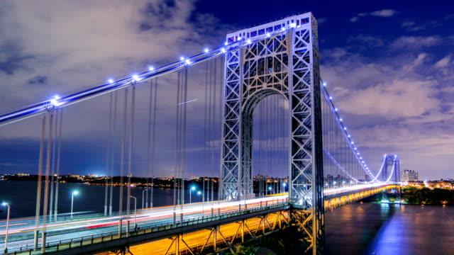 george washington bridge, new york city - manhattan brücke stock-videos und b-roll-filmmaterial