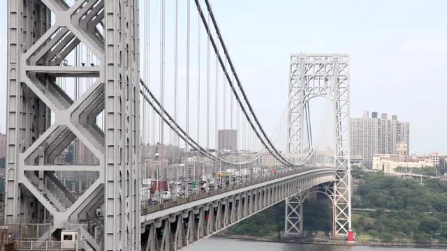 george washington bridge rush hour, from the new jersey side - upper west side manhattan stock videos and b-roll footage