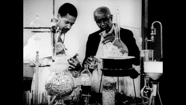 George Washington Carver in science lab / African American judge explorer surgeon blues artist publisher curator sculptor singer conductor principal...